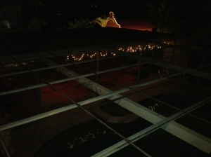 The Pool Cover from above at night. Note the lighted Chapel Arch in the distance.